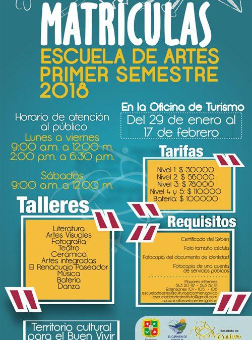 ¡El 29 de enero empiezan las matrículas de la Escuela de Artes!