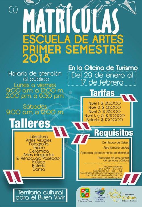 Afiche matriculas escuela de artes 2018 .web