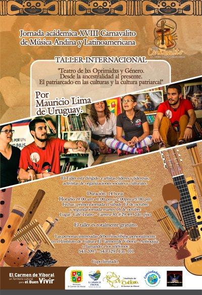Taller de teatro en la jornada académica del XVIII Carnavalito de Música Andina y Latinoamericana en el 2018