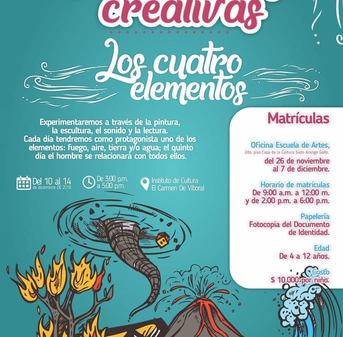 """""""Los cuatro elementos"""" – Vacaciones Creativas 02 – 2018."""